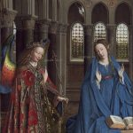 Jan van Eyck (Netherlandish, c. 1390 - 1441), The Annunciation, c. 1434/1436, oil on canvas transferred from panel, Andrew W. Mellon Collection 1937.1.39